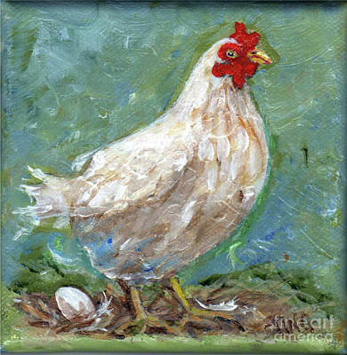White Hen Lays Egg Art Print by Doris Blessington