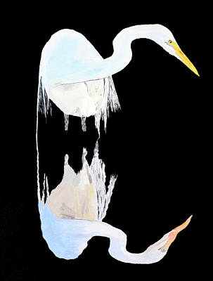 Acrylic On Canvas Painting - White Heron by Eric Kempson