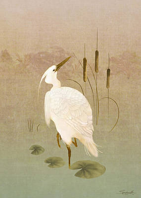 Digital Art - White Heron In Bulrushes by IM Spadecaller
