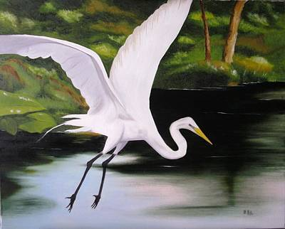 Painting - White Heron In Flight by Maria Mills
