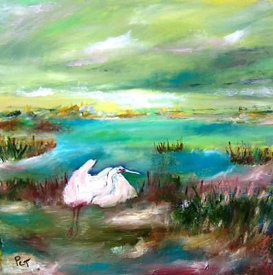 Painting - White Heron In Florida Marsh Early Morning by Patricia Taylor