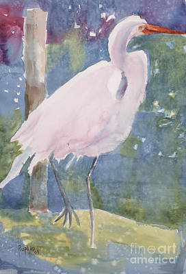 Painting - White Heron by Linda Rupard