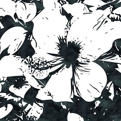 Ink Mixed Media - White Hibiscus- Art By Linda Woods by Linda Woods