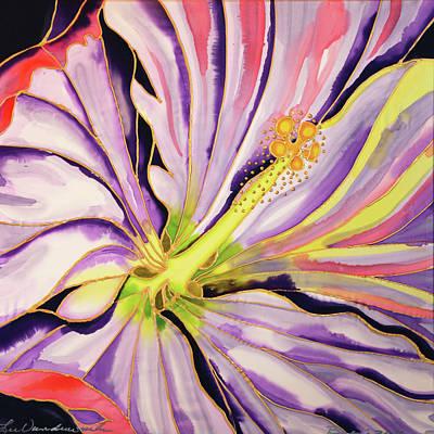 Painting - White Hibiscus On Silk 2 by Lee Vanderwalker