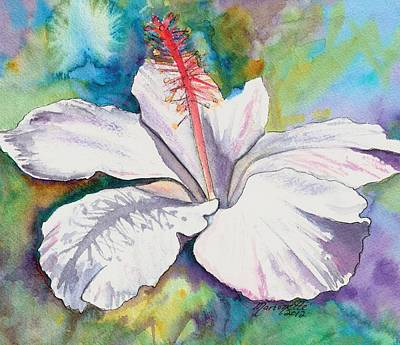 Hawaiian Flower Painting - White Hibiscus Waimeae by Marionette Taboniar