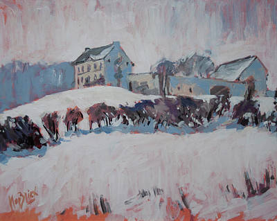 Painting - White Hill Zonneberg Maastricht by Nop Briex