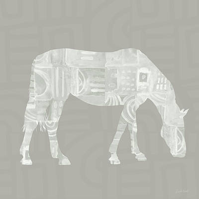 White Horse 2- Art By Linda Woods Art Print by Linda Woods
