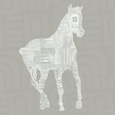 White Horse 3- Art By Linda Woods Art Print by Linda Woods