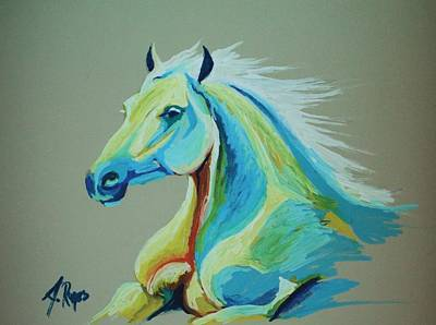 Painting - White Horse by Angel Reyes