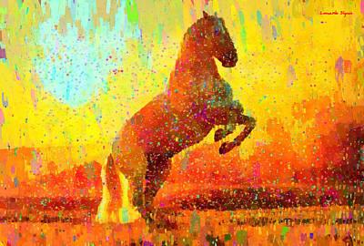 Stock Digital Art - White Horse - Da by Leonardo Digenio
