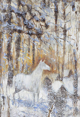 Abstract Male Faces - White Horse in Winter Woods by Ilya Kondrashov