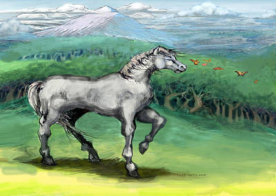 Horse Painting - White Horse  by Kevin Middleton