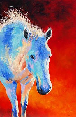 Lynee Sapere Wall Art - Painting - White Horse by Lynee Sapere
