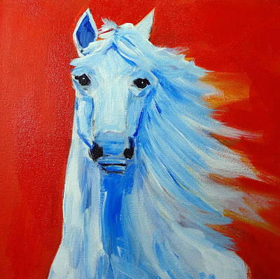 Painting - White Horse On Red Orange by Katy Hawk