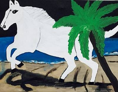 Painting - White Horse Painting. Original Acrylic Painting On Canvas. by Jonathon Hansen