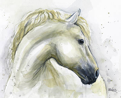 Farm Animal Painting - White Horse Watercolor by Olga Shvartsur