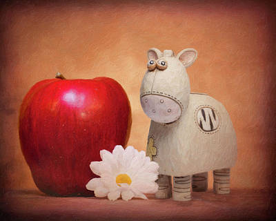 Miniature Photograph - White Horse With Apple by Tom Mc Nemar