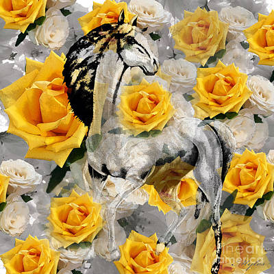 Painting - White Horse Yellow Roses by Saundra Myles