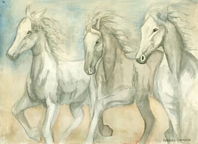 Painting - White Horses by Delores Swanson