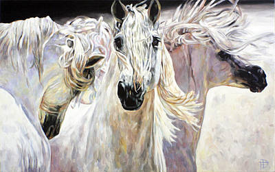 Painting - White Horses - Manes In The Sun by Jana Fox