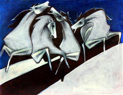 Persian Miniature Painting - White Horses by Masoud Farshchi