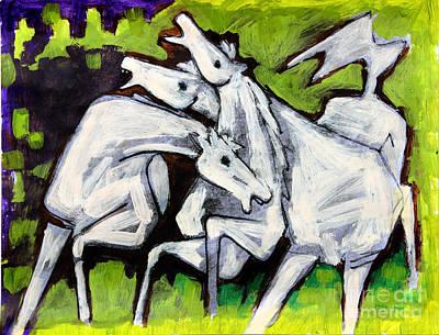 Art By Silvana Gabudean Painting - White Horses On Green by Masoud Farshchi