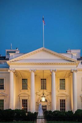 Usa Flag Photograph - White House At Dusk by Andrew Soundarajan