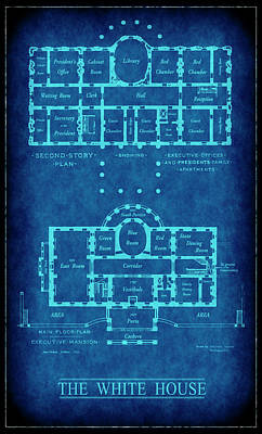 Obama Family Digital Art - White House Blueprint by Daniel Hagerman