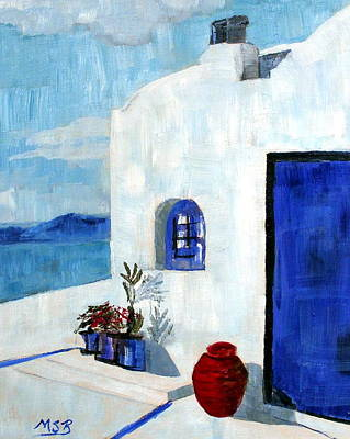 Painting - White House In Santorini by Maria Soto Robbins