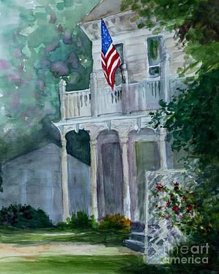 White House Wiht Flag Original by Julie Ferrario