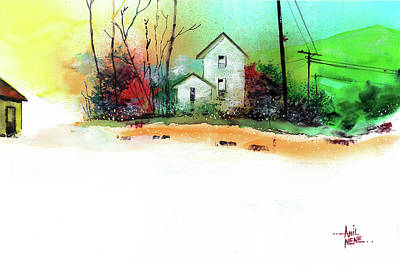 Abstract Beach Landscape Drawing - White Houses by Anil Nene