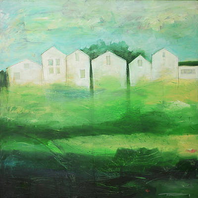 Painting - White Houses In Row By Field by Tim Nyberg