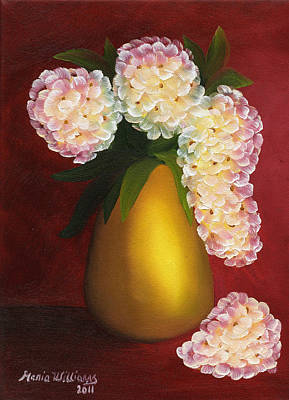 Painting - White Hydrangeas In A Golden Vase by Maria Williams
