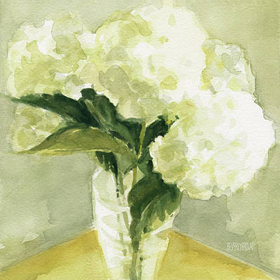 Yellow Flowers Painting - White Hydrangeas Morning Light by Beverly Brown
