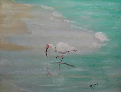 Pastel - White Ibis At Bellaire Beach by Joan Mansson