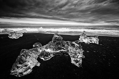 Glacier Photograph - White Ice Black Beach - Fascinating Iceland by Matthias Hauser