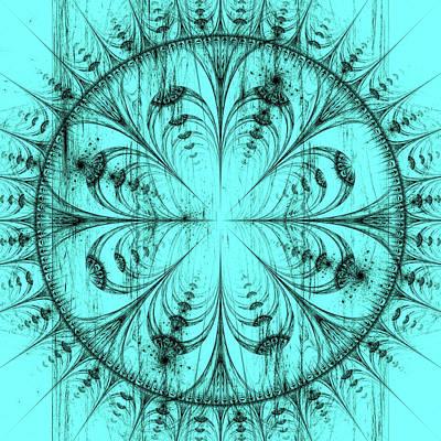Abstract Digital Art - white illustrblack illustration of mandala designation of mandala design on aqua green background. C by Oksana Ariskina