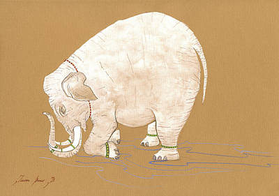 White Indian Elephant Original by Juan Bosco