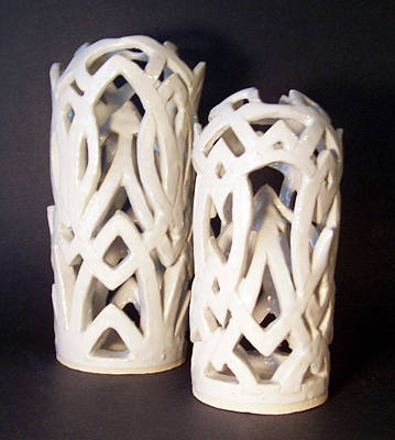 Wheel Thrown Sculpture - White Interlaced Sculptures by Carolyn Coffey Wallace