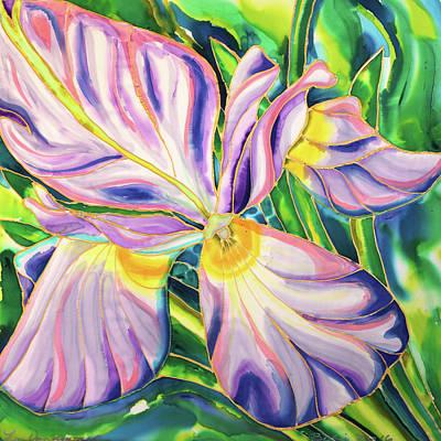 Painting - White Iris On Silk by Lee Vanderwalker