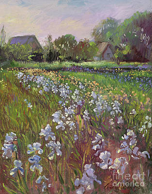 Spring Scenery Painting - White Irises And Farmstead by Timothy Easton