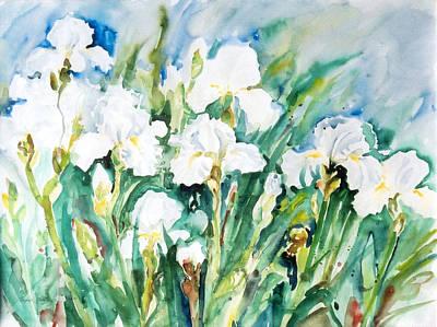 White Irises Art Print by Alexandra Maria Ethlyn Cheshire