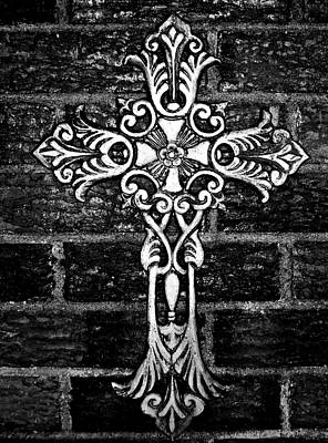 Believers Mixed Media - White Iron Cross Bw by Angelina Vick