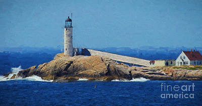 New England Lighthouse Painting - White Island Lighthouse by Mim White
