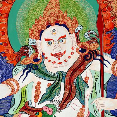 Tibetan Buddhism Painting - White Jambhala 9 by Lanjee Chee