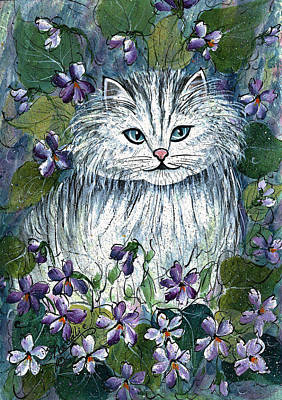 Painting - White Kitten With Violets by Natalie Holland