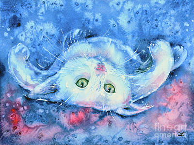 Painting - White Kitten  by Zaira Dzhaubaeva