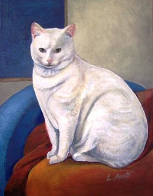 Painting - White Kitty by Laura Aceto