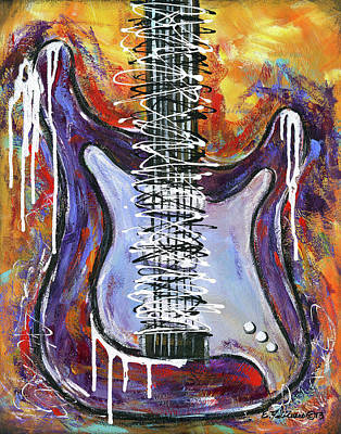 Painting - White Knight Guitar by Elena Feliciano