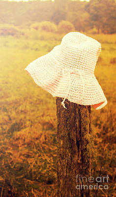 White Knitted Hat On Farm Fence Art Print
